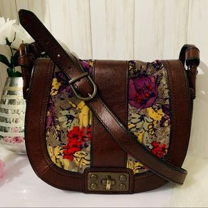 Fossil Leather and Floral Suede Crossbody Bag